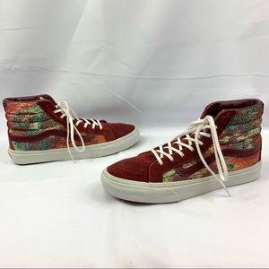 VANS Sk8 Hi Top Slim Italian Weave Shoes Womens8.5